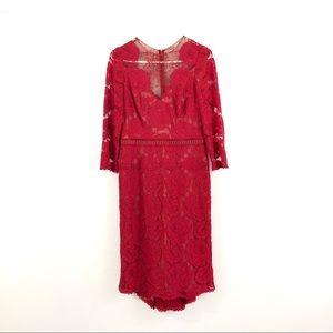 Tadashi Shoji Floral Lace Midi Long Sleeve Dress